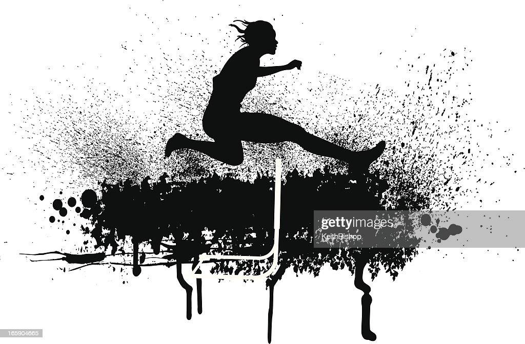 Track Meet - Hurdler, Female : Stock Illustration