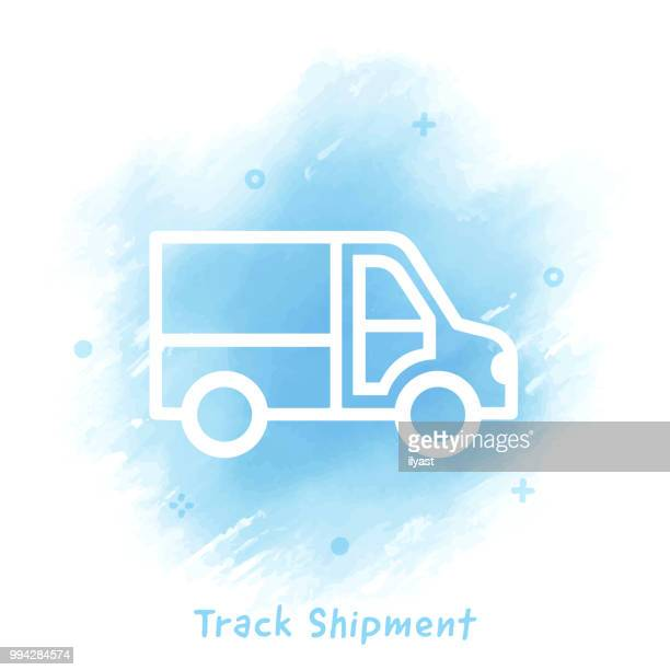 track shipment line icon watercolor background - drawing artistic product stock illustrations