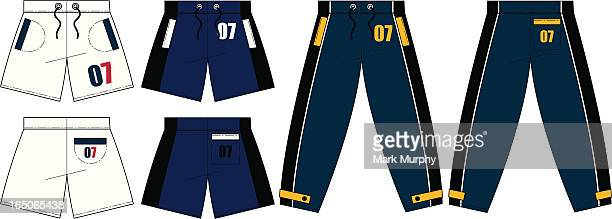 Tracksuit Bottoms & Shorts Front & Back (Vector)