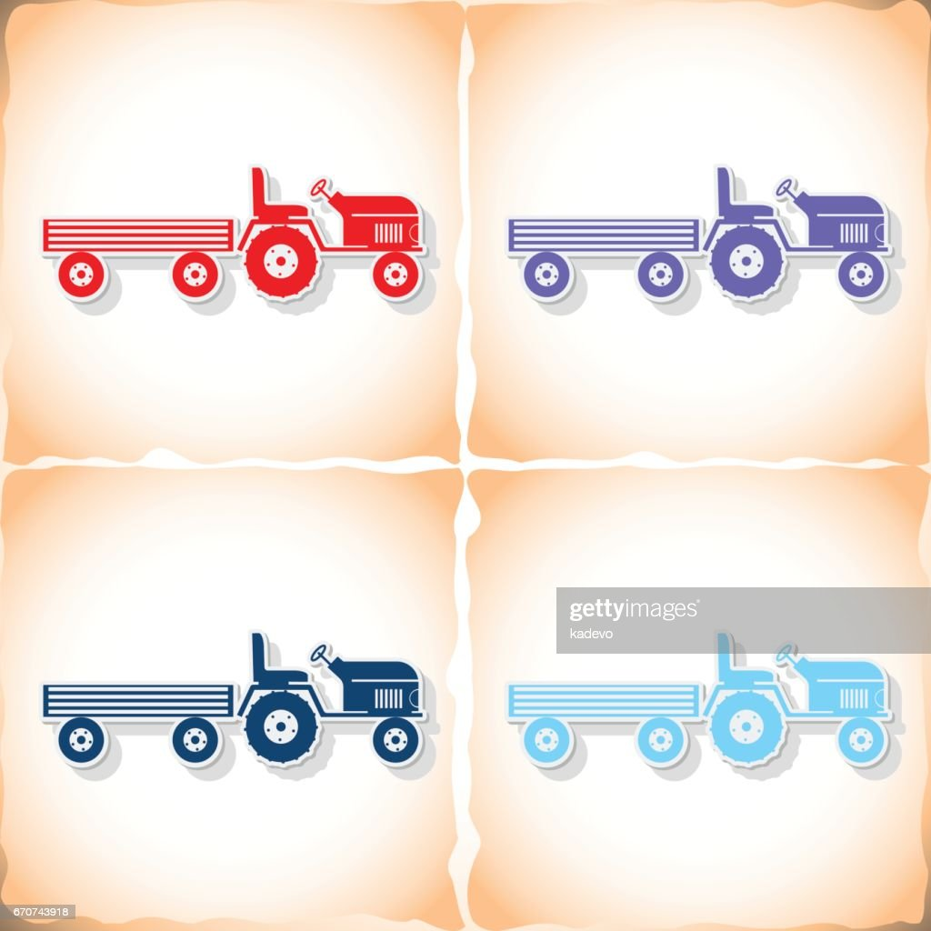 Tractor and large trailer. Flat sticker with shadow on old paper