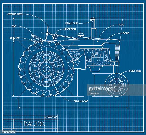 tractor blueprint - tractor stock illustrations