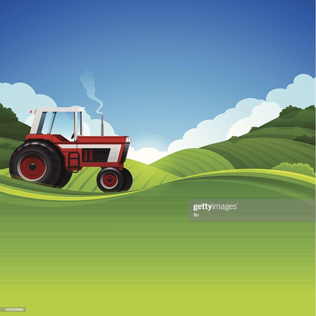 Tractor Farming Background : Stock Illustration