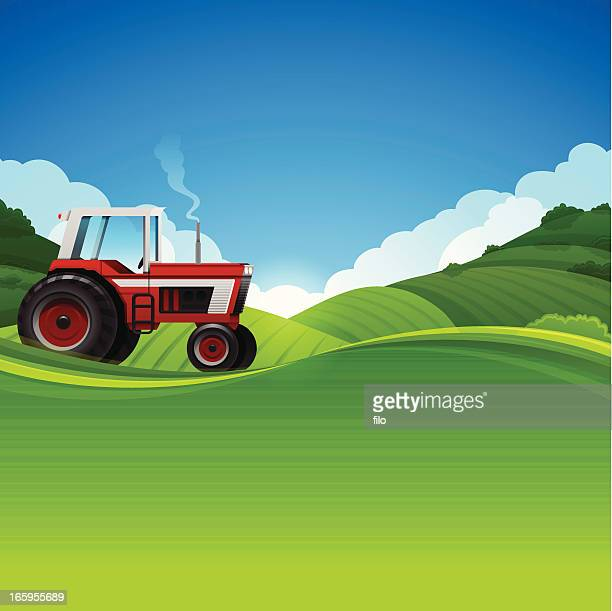 tractor farming background - tractor stock illustrations