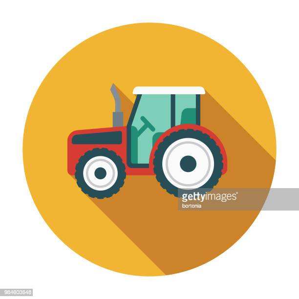 tractor flat design agriculture icon - tractor stock illustrations