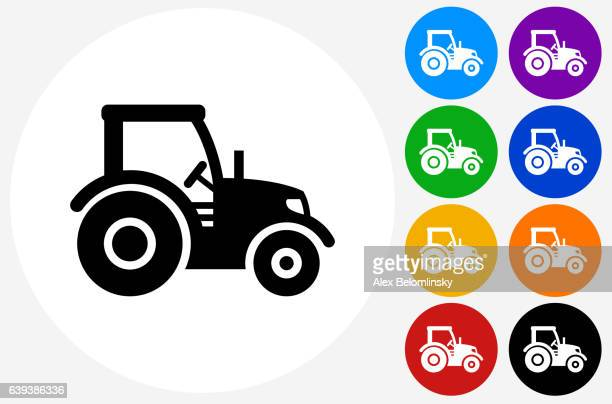 stockillustraties, clipart, cartoons en iconen met tractor icon on flat color circle buttons - tractor