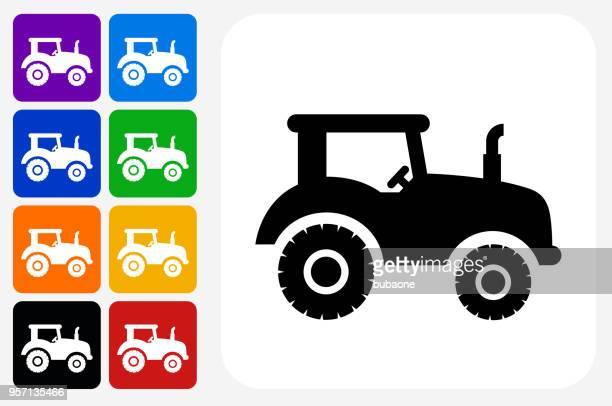Tractor Icon Square Button Set