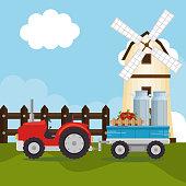 tractor in the farm scene