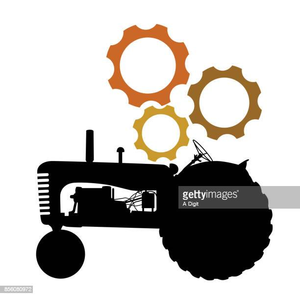 ilustraciones, imágenes clip art, dibujos animados e iconos de stock de tractor necesita reparaciones - tractor