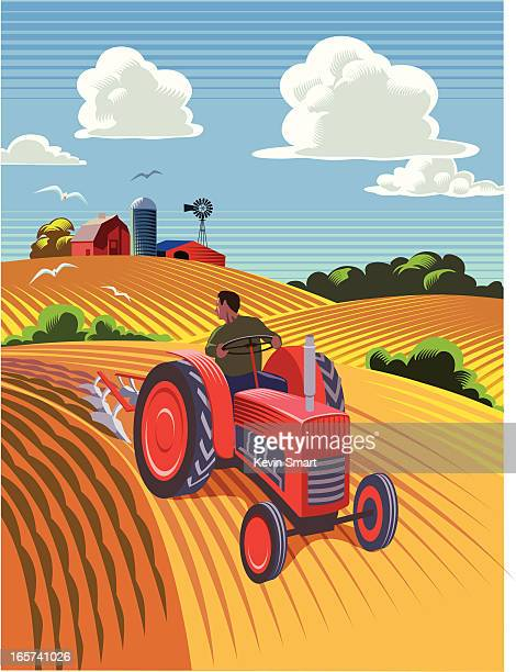 tractor ploughing field - tractor stock illustrations