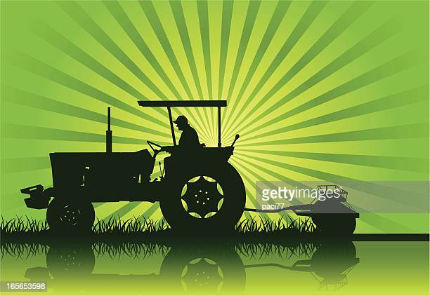 tractor silhouette (vector) - tractor stock illustrations
