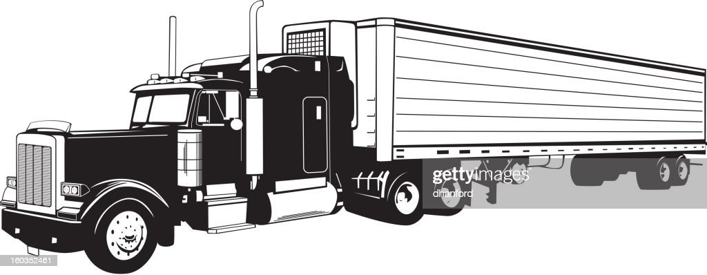 Semi Tractor Drawings : Tractor trailer truck black and white vector art getty