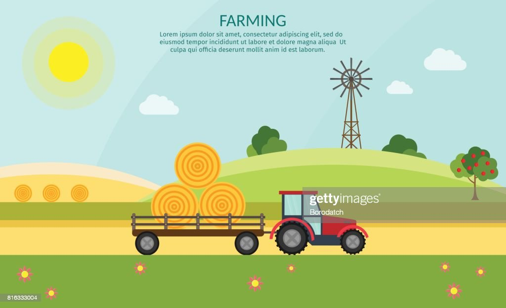Tractor vector farm elements and ecology nature background