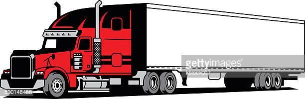 illustrations, cliparts, dessins animés et icônes de semi-remorque - chauffeur routier