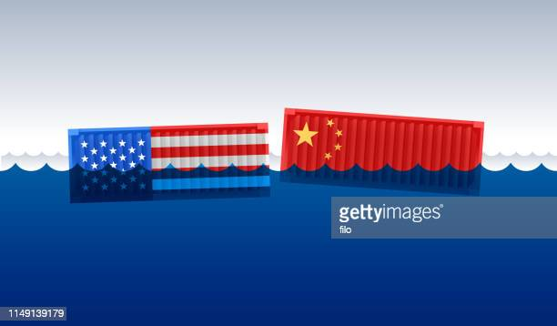 trade and tariff negotation and dispute between the united states and china - trade war stock illustrations