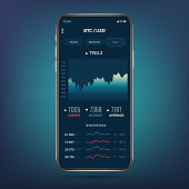 Trade exchange app on phone screen. Mobile banking cryptocurrency ui. Online stock trading interface vector eps 10