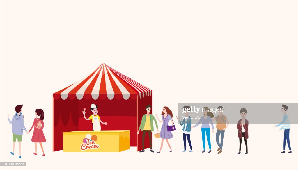 Trade tent, ice cream counter, seller under a canopy, outdoor composition, city, selling ice cream, drinks, corn, fast food, sweets. People, sellers and buyers. Urban scene. Vector illustration in cartoon style