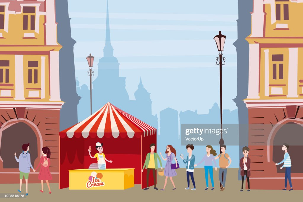 Trade tent, ice cream counter, seller under a canopy, outdoor composition, city, characters selling ice cream, drinks, corn, fast food, sweets. People, sellers and buyers. Urban scene. Vector illustration in cartoon style