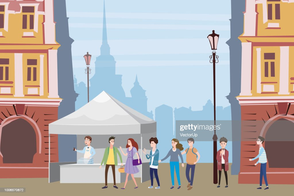 Trade tent, ice cream counter, seller under a canopy, selling ice cream, drinks, corn, fast food, sweets. People, sellers and buyers. Urban scene. Vector illustration in cartoon style