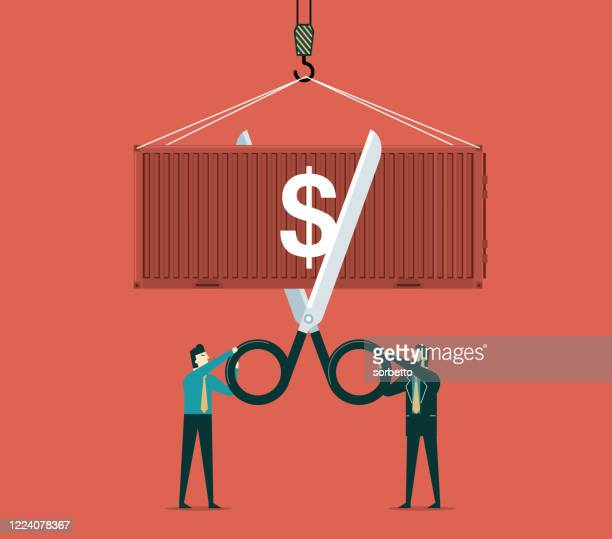 trade war - cutting - tariff stock illustrations