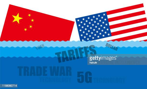 Trade war of China and United States, Vector illustration