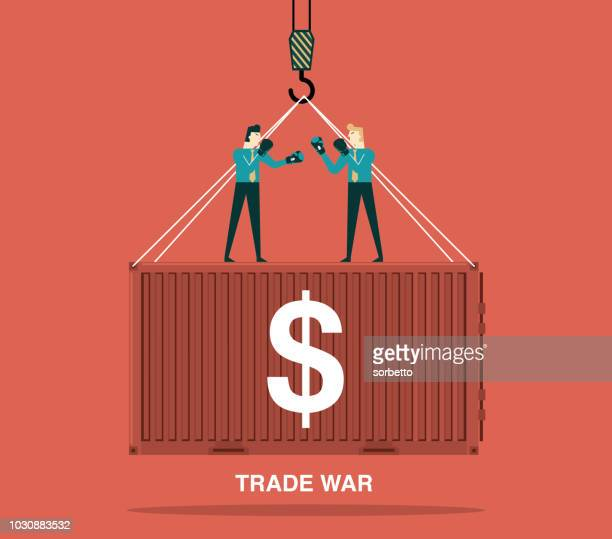 trade war - fighting stance stock illustrations, clip art, cartoons, & icons