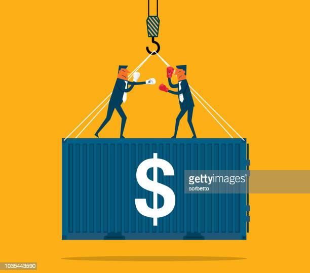 handelskrieg - handel treiben stock-grafiken, -clipart, -cartoons und -symbole