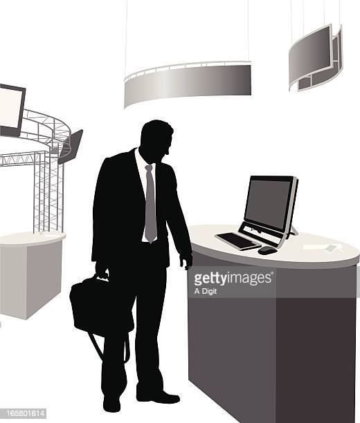 tradeshow electronics vector silhouette - retail display stock illustrations, clip art, cartoons, & icons