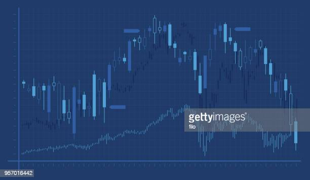 trading chart graph - trading stock illustrations