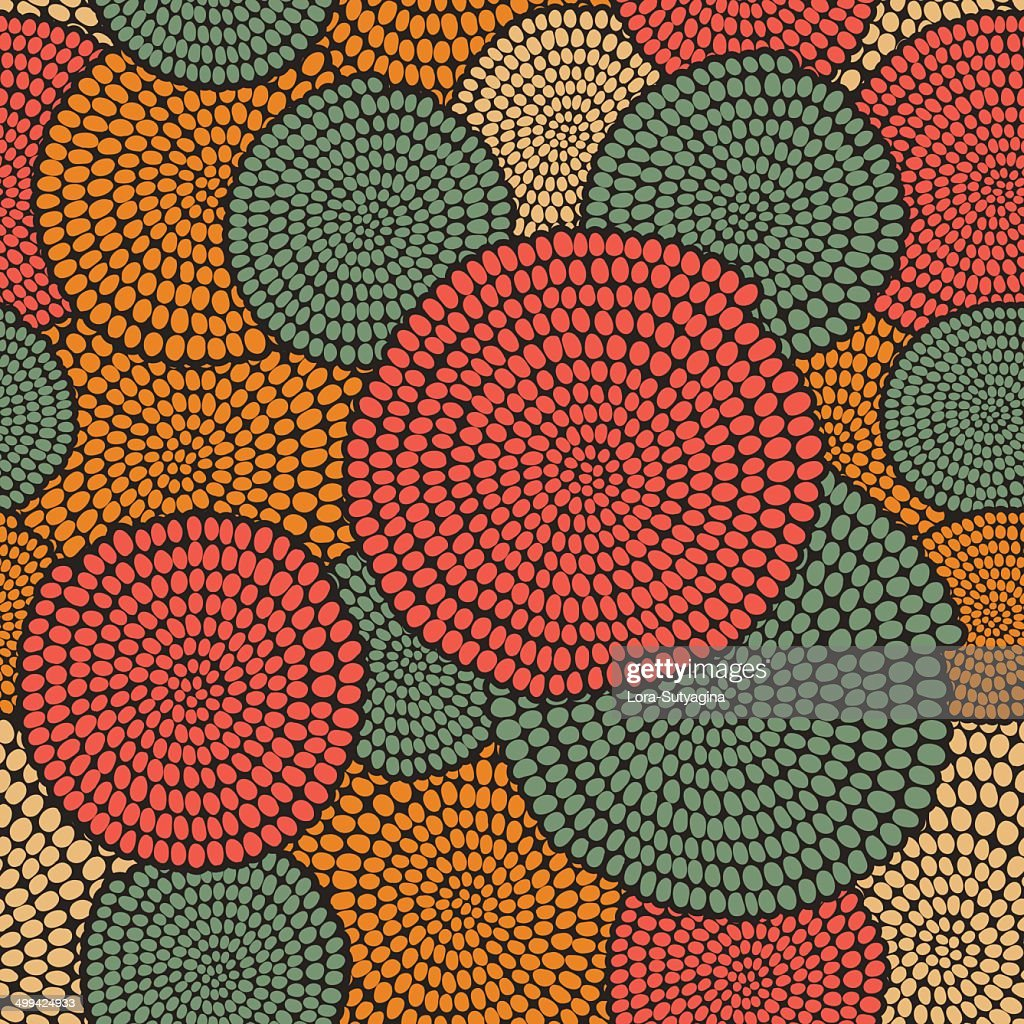 Traditional African Ornament with warm swirls. Seamless vector pattern.