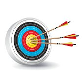 Traditional Archery Target with Arrows Illustration