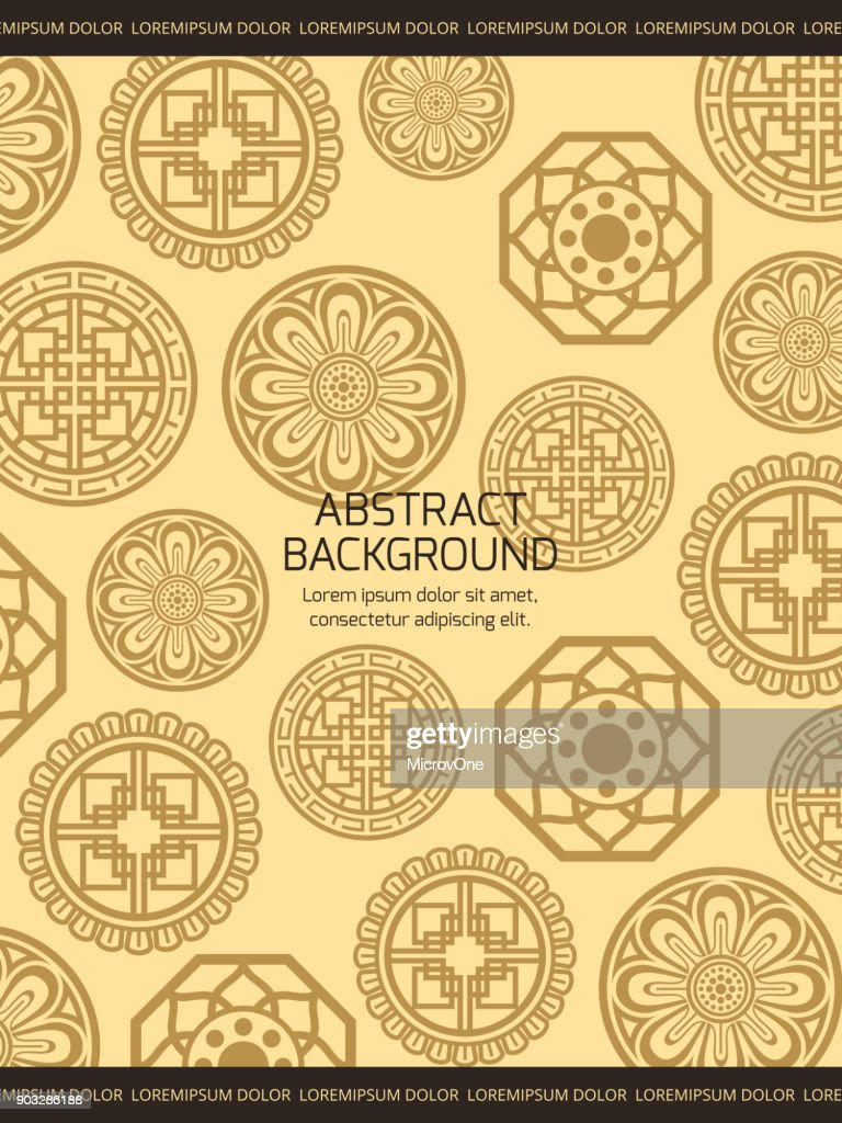 Traditional asian background - korean chinese or japanese backdrop with ornaments details