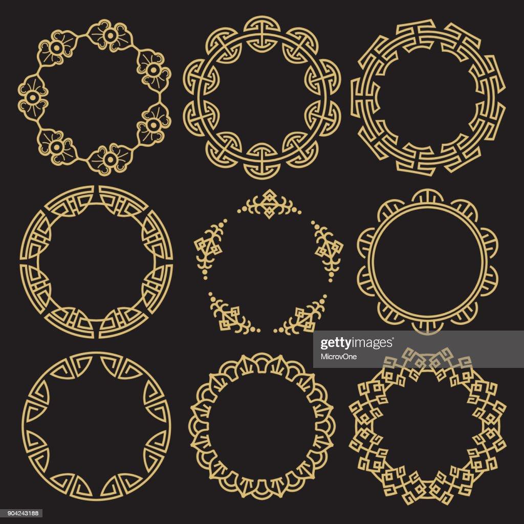 Traditional asian frames - chinese korean japanese