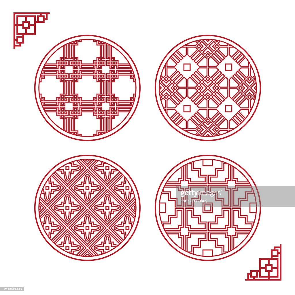 Traditional Asian Window Pattern, vector set