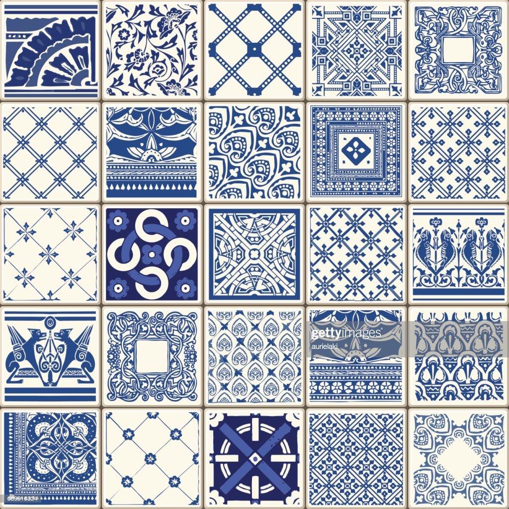 Traditional Blue Ceramic Vintage Flowers Vector Illustration