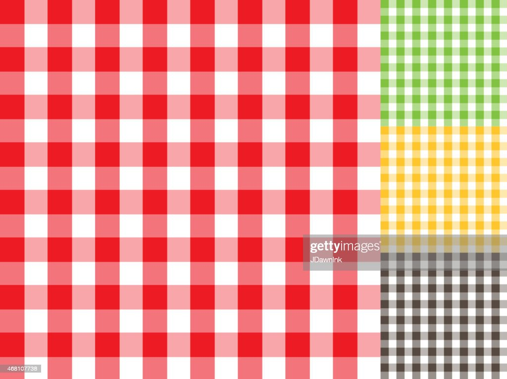 Traditional Checked Table Cloth Background Pattern Set With Texture :  Vector Art