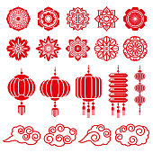Traditional chinese and japanese decorative design vector elements