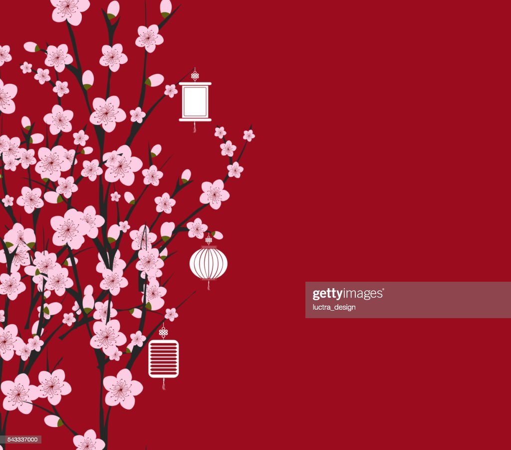 traditional chinese new year. Blossom background.