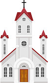 Traditional christian catholic faith church religion building flat design isolated icon vector illustration