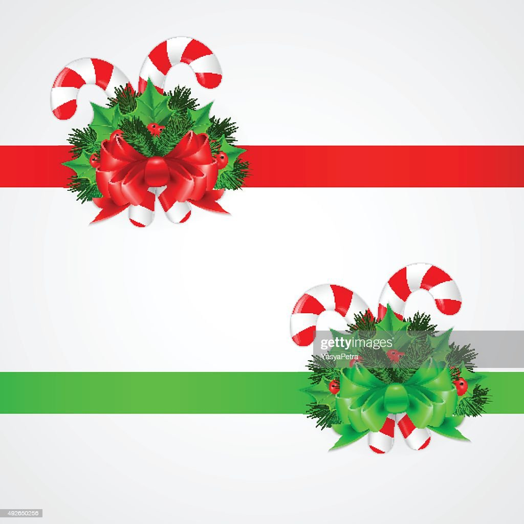 traditional christmas candy cane with decor vector illustration vector art