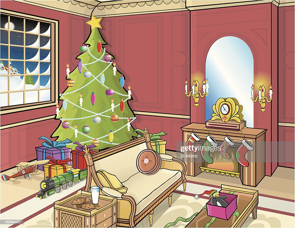 Traditional Christmas Living Room High Res Vector Graphic