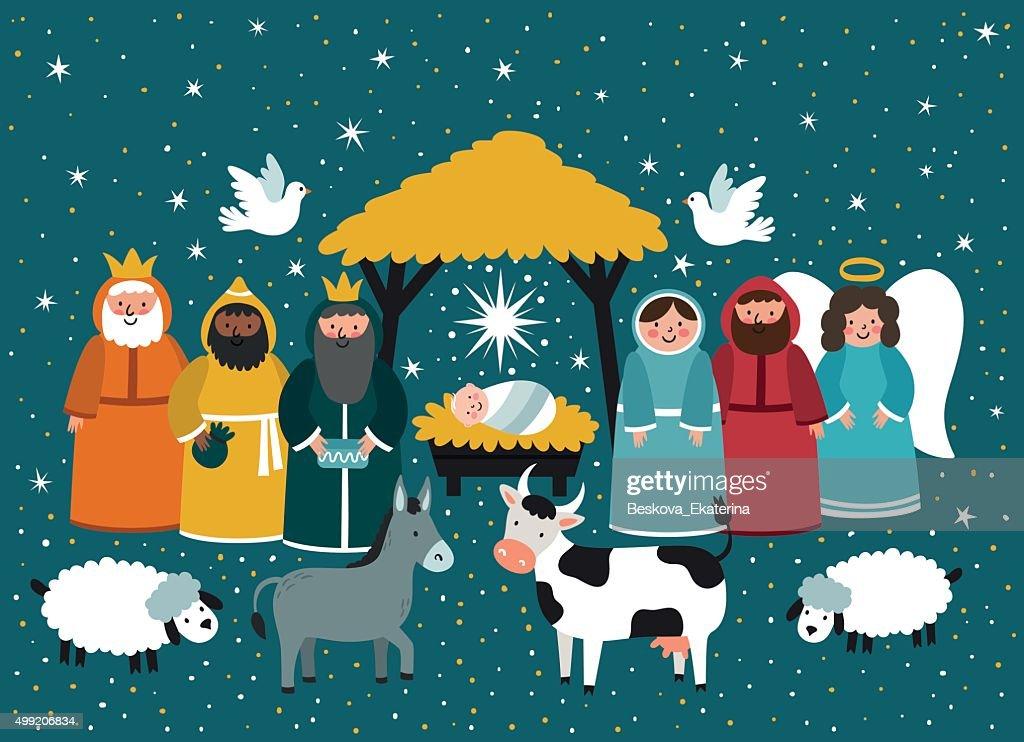 Traditional Christmas. Nativity scene.