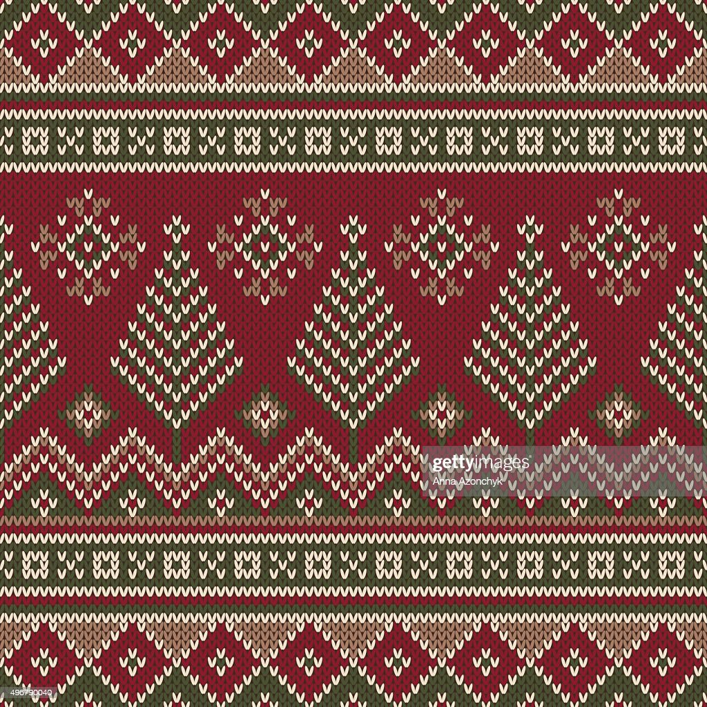 traditional christmas sweater design seamless knitting pattern vector art
