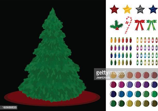 ilustrações de stock, clip art, desenhos animados e ícones de tradicional árvore de natal e decorações - estrelas de natal
