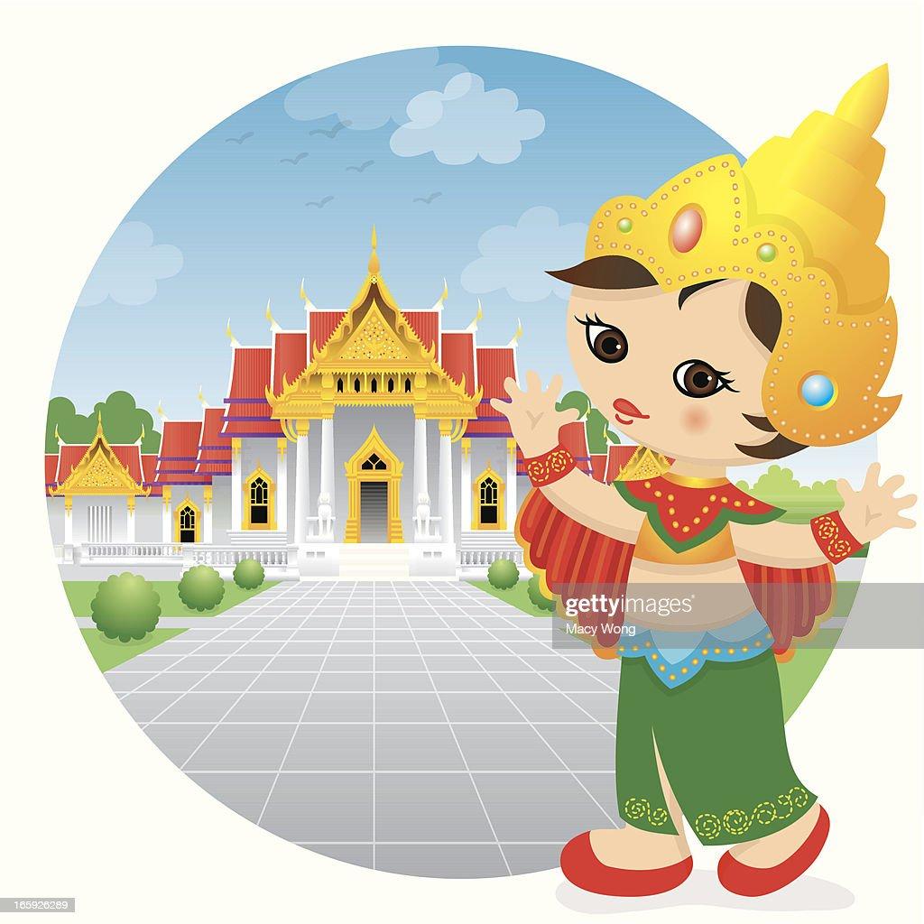 Traditional dancing Thailand girl : stock illustration