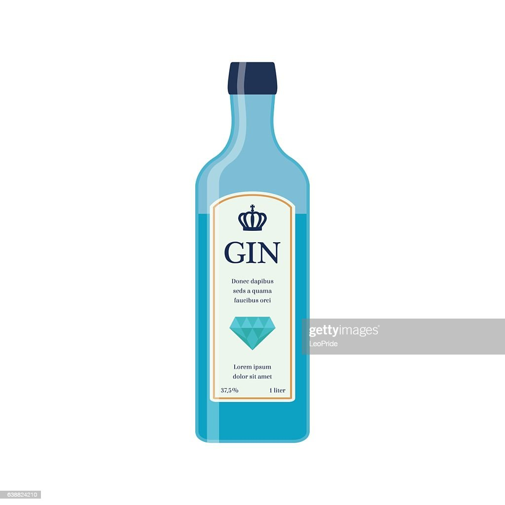 Traditional dry gin in blue bottle. Alcohol drink. Flat style.