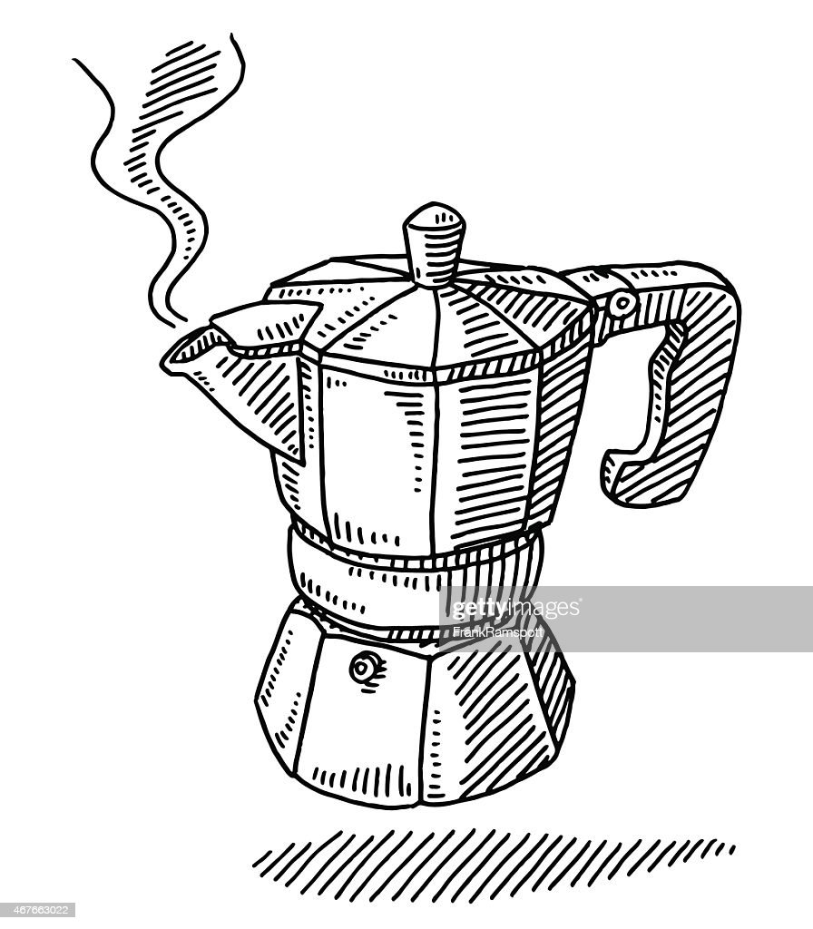 Traditional Espresso Maker Pot Drawing Vector Art | Getty Images