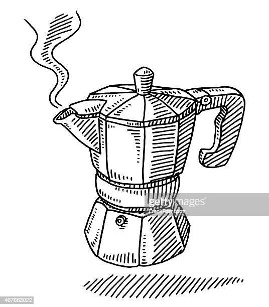 ilustrações, clipart, desenhos animados e ícones de tradicional máquina de espresso panela de desenho - cultura italiana