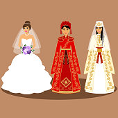 Traditional European, American, Chinese, Caucasian, Armenian bride.