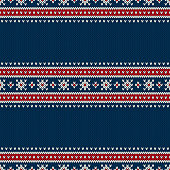 Traditional Fair Isle Style Seamless Knitted Pattern. Christmas and New Year Design Background with a Place for Text