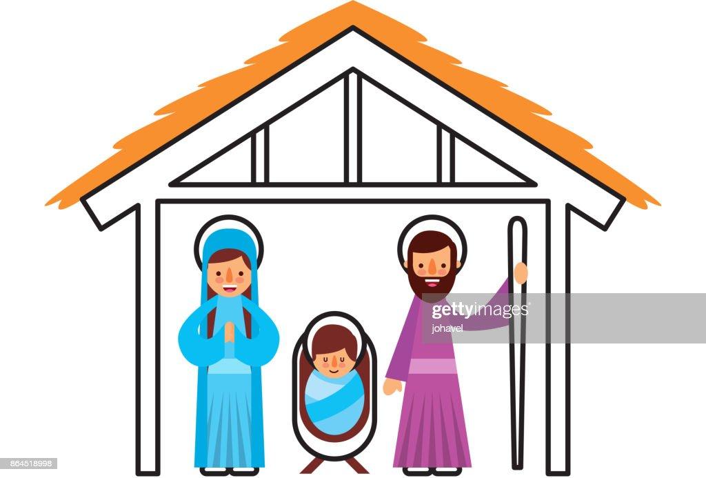 traditional family christmas manger scene baby jesus virgin mary and saint joseph